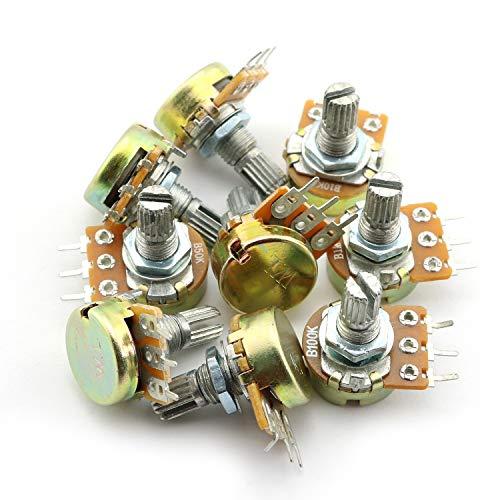 Tegg 9PCS Linear Taper Rotary Potentiometer Pot B1K 2K 5K 10K 20K 50K 100K 500K 1M Ohm Shaft 15mm