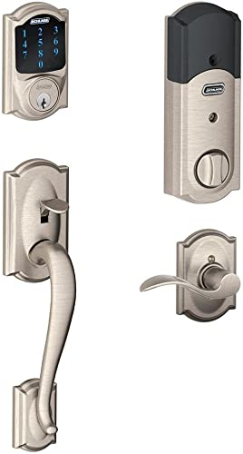 Schlage Connect Camelot Touchscreen Deadbolt with Built-In Alarm and Handleset Grip with Accent Lever