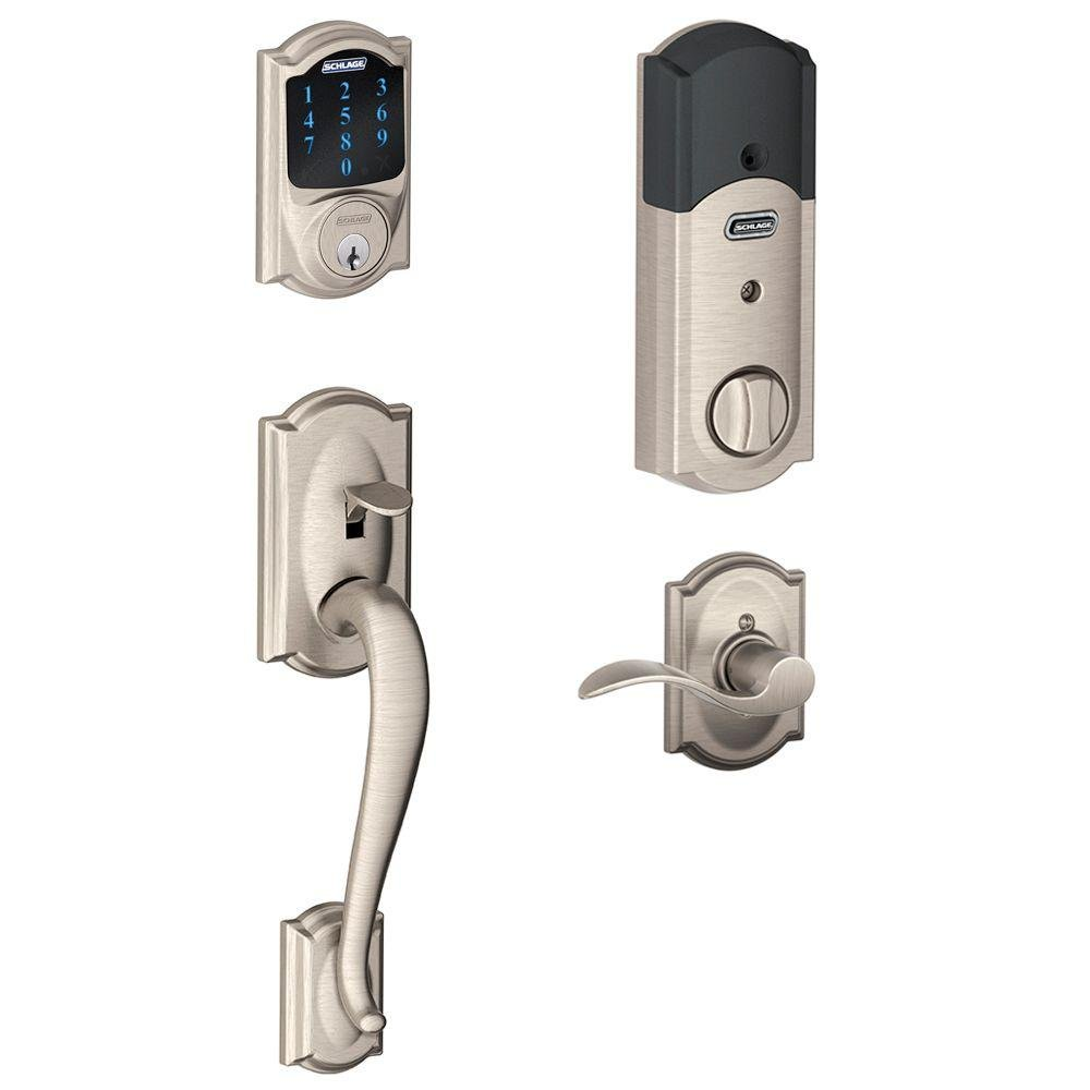 Schlage Connect Camelot Touchscreen Deadbolt with Built-In Alarm and Handleset Grip with Accent Lever, Satin Nickel, FE469NX ACC 619 CAM RH, Works with Alexa
