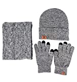JOYEBUY Men 3 PCS Knitted Set Winter Warm Knit Hat + Scarf + Touch Screen Gloves (Grey)