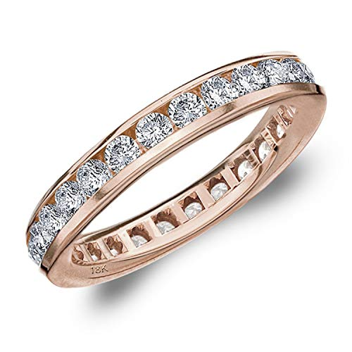 (1.5CT Classic Channel Set Diamond Eternity Ring in 18K Rose Gold (H-I Color, I1-I2 Clarity) - Finger Size 7 )