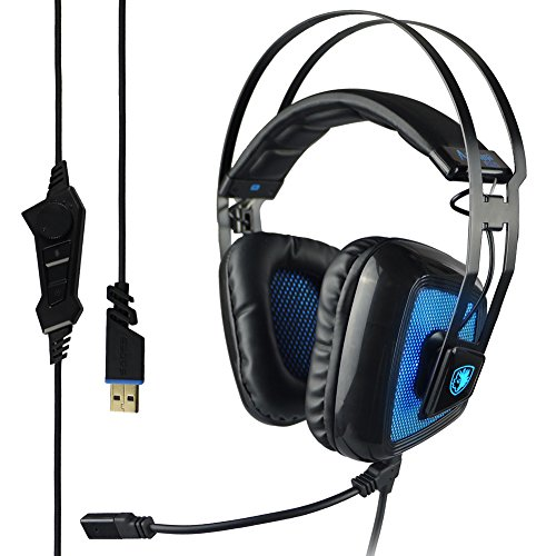 Sades Antenna Plus 7.1 Surround Sound Stereo USB Wired PC Gaming Headset with Microphone