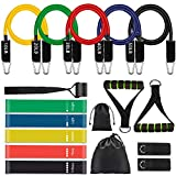 17 Pcs Resistance Bands Set Workout Bands - Including 5 Stackable Exercise Bands /5 Resistance Loop Exercise Bands with Carry Bag/Door Anchor/Legs Ankle Straps for Yoga/Pilates by MIBOTE
