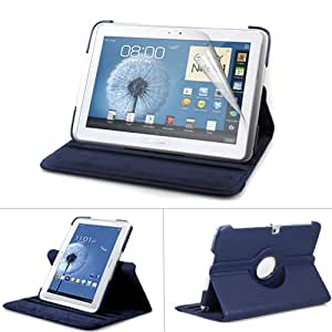 GMYLE Deep Blue PU Leather 360 Degree Rotating Swivel Folio Case Cover With Adjustable Multi Angle Stand For Samsung Galaxy Note 10.1 N8000 Tablet With Screen Protector & LCD Cleaning Pad