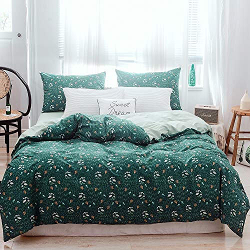 AiMay Duvet Cover Set 3 Piece Bedding Sets Natural Cotton Floral with Green Color Zipper Closure Ultra Soft Comfortable and Breathable (Queen, LY) (Green Comforter Floral)