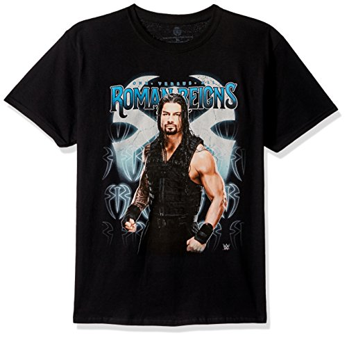 (WWE Boys Roman Reigns One Versus Al Youth Short-Sleeved Tee Tearaway Label, Black)