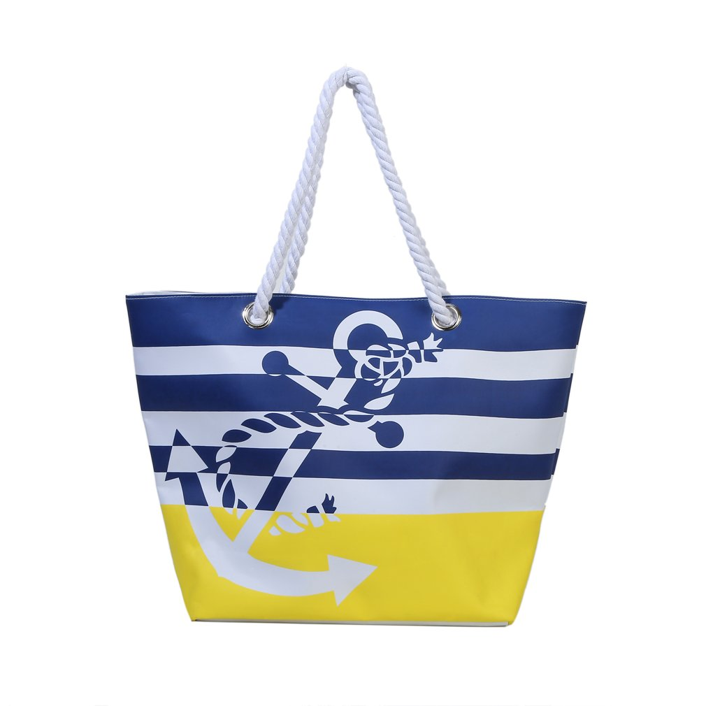 Waterproof Beach Bag Extra Large Summer Tote/Top Magnet Clasp Bag With Cotton Rope Handles(Yellow)