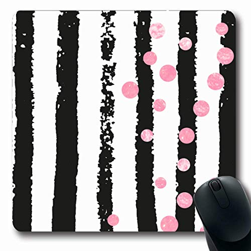 LifeCO Mouse Pad Drawn Red Birthday Pink Dots Confetti Line On Black Border Circle Date Hand Oblong Shape 7.9 x 9.5 Inches Mousepad for Notebook Computer Mat Non-Slip Rubber