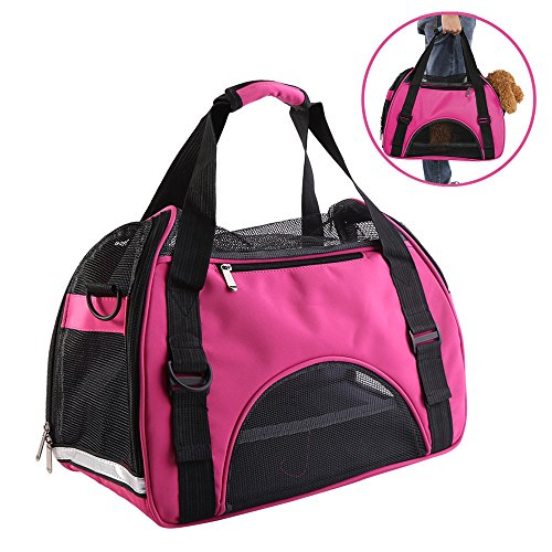 Pet Soft Sided Carrier, Airline Approved Mesh Bag for Small Dog Puppy Cat Outdoor Travel, Hand-held and Shoulder Carry Dual Purpose(Rose Red)