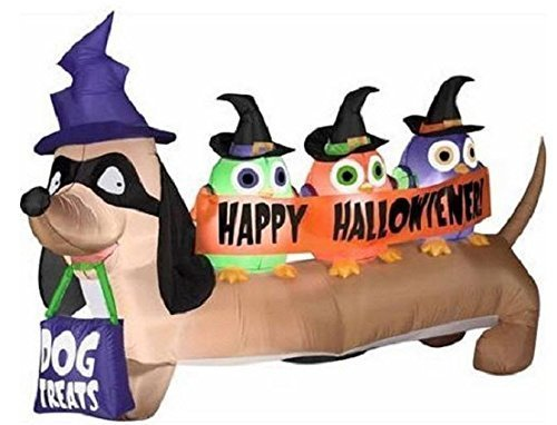 Gemmy Airblown Inflatable Halloween Halloweiner Weiner Dog with Owls Yard Decor 6.5' Wide by Gemmy