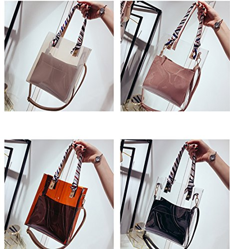 Son Rrock White Package Color Transparent Bag Bag Women's PVC And Mother Shoulder Four Ribbon 4W40rUq