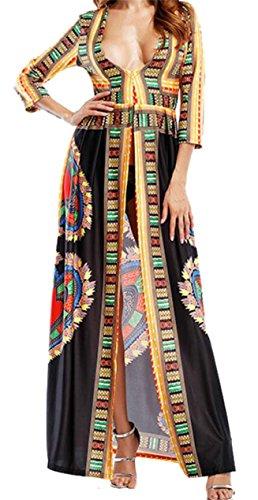 Jaycargogo Des Femmes De Cou V Profond Décontracté Avant Impression Afrique Maxi Robe Noire Divisée