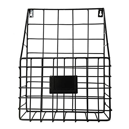 - Lovt Wall Mounted Rustic Metal Wire Magazine Storage/Organizer Basket Rack,Wrought Iron Bookshelf Magazine Rack Storage Basket Hanging Shelf (Black)