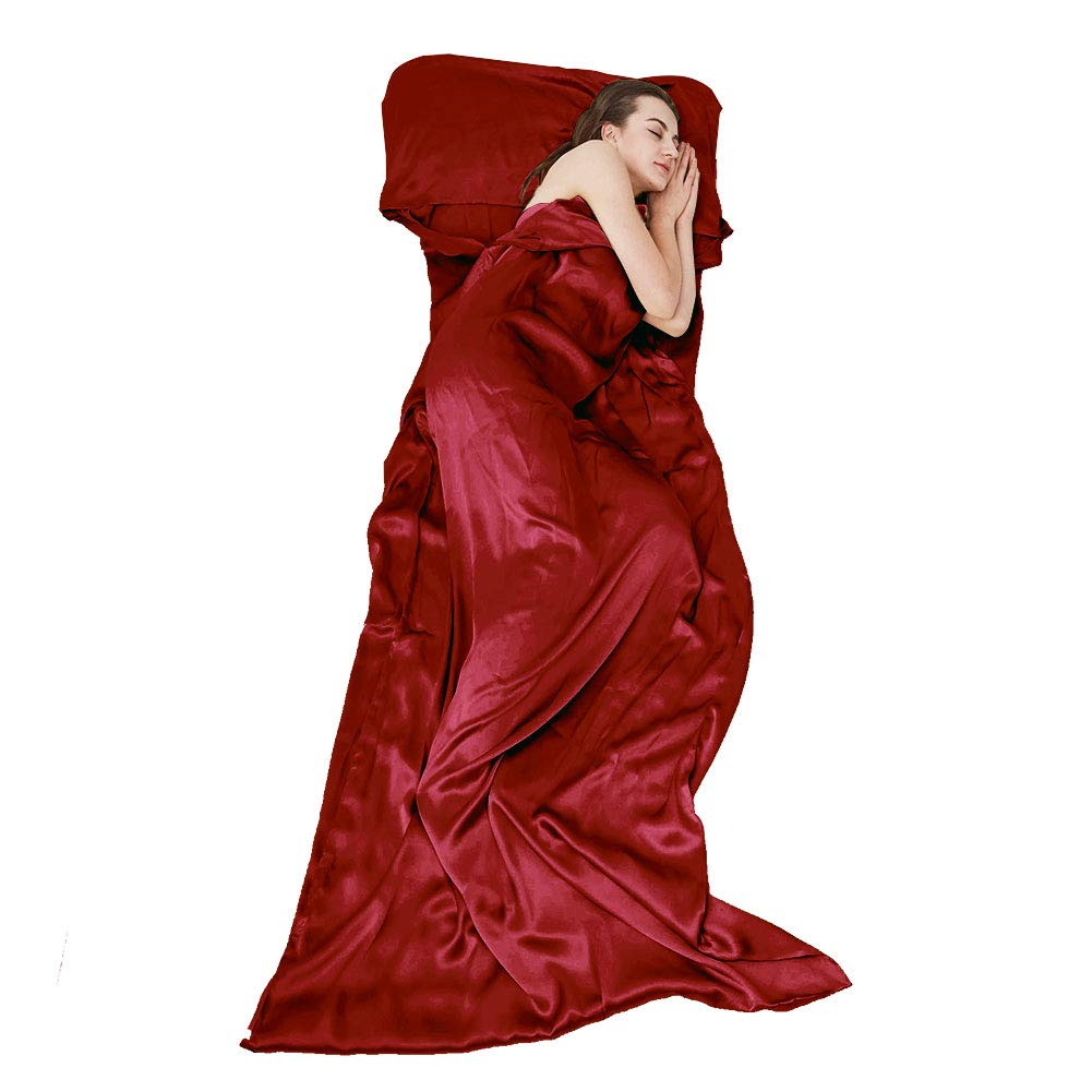THXSILK Naturally 100% Mulberry Silk Travel Sheet Camping Sheet Sleeping Bag Liner - Soft & Lightweight Sleep Bag Outdoor Picnic, Hotel, Adventurous Travelers, Red, 41'' x 86'' by THXSILK