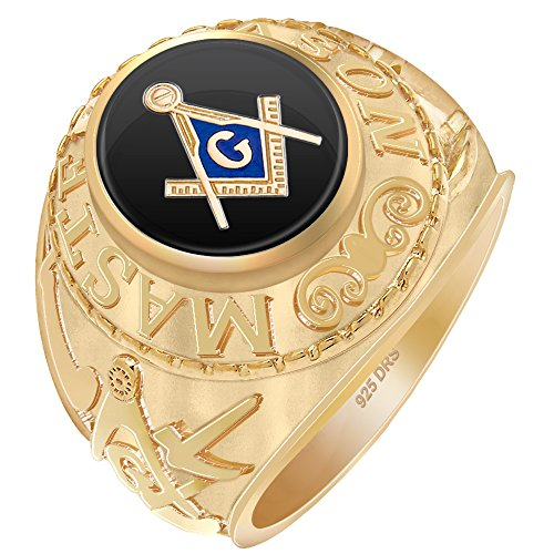 - US Jewels And Gems Men's 0.925 Vermeil Gold Plated Master Mason Simulated Onyx High Polish Freemason Ring, Size 8.5