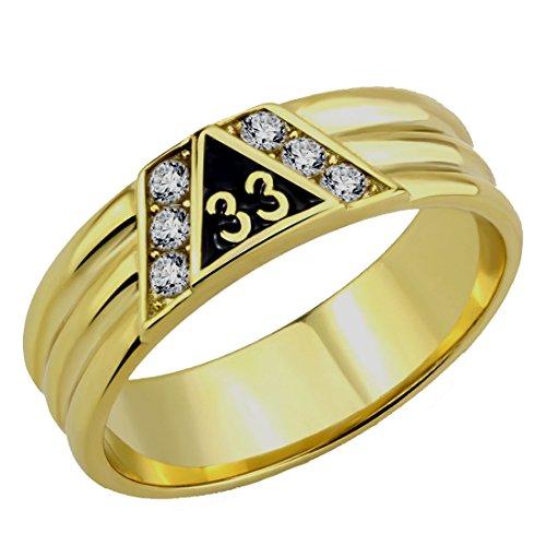 T24 Scottish Rite 33 Degree Stainless Steel Ring 33rd Thirty Third Freemason Mason -