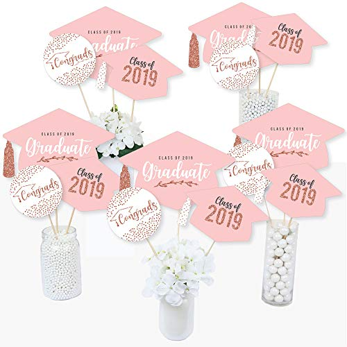Rose Gold Grad - 2019 Graduation Party Centerpiece Sticks - Table Toppers - Set of 15