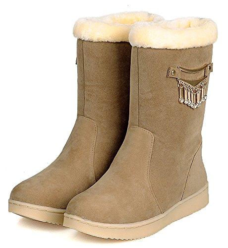 Idifu Mujeres Antideslizante Forrada De Piel Botines De Invierno Plana Cálida Mid Calf Snow Botas Camel