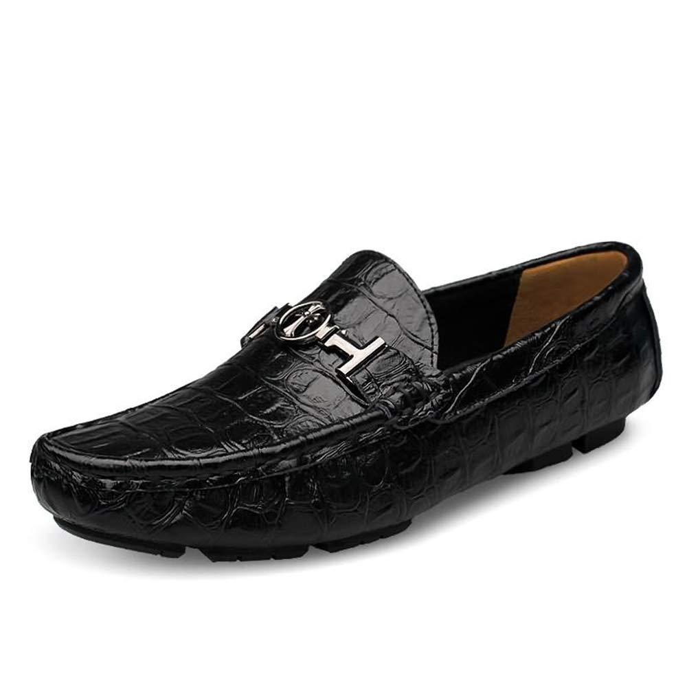 ZHRUI Slip on Schuhe für Männer Fahren Größe komfortable Sote Sohle Rutschfeste Größe Fahren Horsebit Loafters (Farbe : Blau, Größe : EU 49) Schwarz 01faa1