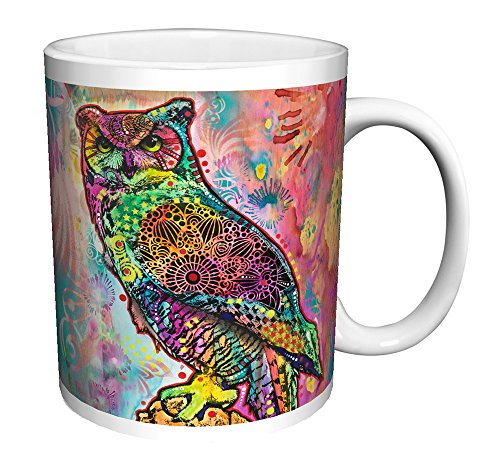 Dean Russo Owl Bird Modern Animal Art Ceramic Gift Coffee Tea Cocoa (11 OZ C HANDLE CERAMIC MUG)