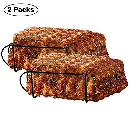 (Urban Deco Rib Rack Grill Racks Pork Rib Rack Non Stick Rib Rack BBQ for 2 Set Porcelain Coated Steel Roasting Stand Holds 4 Rib Racks for Grilling & Barbecuing (Black-2Pack))