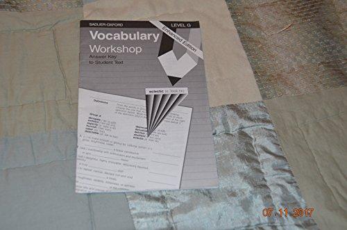 Vocabulary Workshop Level G Answer Key Book By Jerome