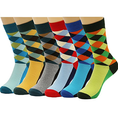 HSELL 6 Packs Men Colorful Dress Socks Warm Funny Color Argyle High Fun Sock,Multicoloured,One Size (Fun Cheap)