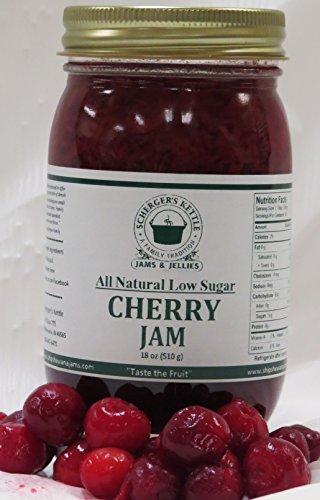 Cherry Jam, All Natural/Low Sugar, 18 (Gourmet Cherry Jams)
