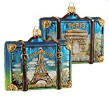 France Travel Suitcase with Pictures of Eiffel Tower Arch de Triumph Paris Polish Glass Christmas Ornament Souvenir Decoration