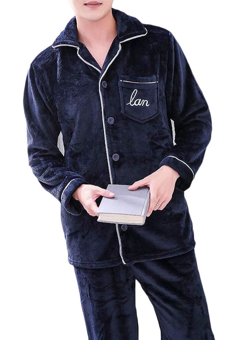 Pandapang Men Loungewear Nightie Long Sleeve Autumn Winter Cozy Flannel 2 Pcs Pajama Set