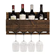 del Hutson Designs- The Little Elm Wine Rack, USA Handmade Reclaimed Wood, Wall Mounted, 4 Bottle 4 Long Stem Glass Holder (Ebony)