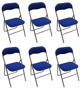 La Silla Española - Sevilla - Pack de Sillas Plegables Acolchadas, PVC, Aluminio, Azul, 46x43.5x78 cm, 6 Unidades