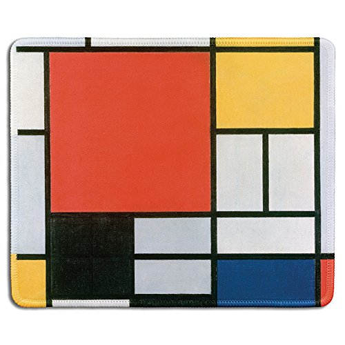 dealzEpic - Art Mouse Pad - Rubber Mousepad with Famous Fine Art Painting of Abstract Colorful Squares Composition in Red, Yellow, Blue and Black by Piet Mondrian - Stitched Edges - 9.5x7.9 inches