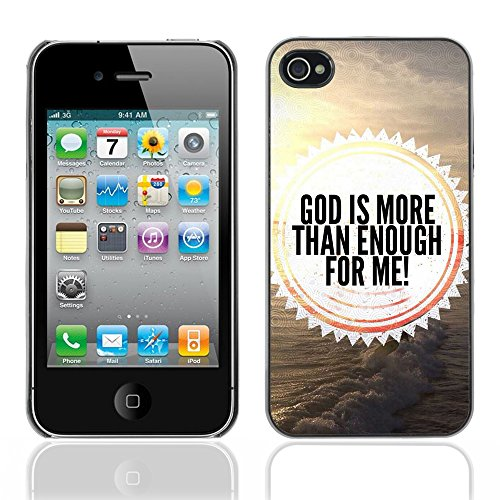 DREAMCASE Citation de Bible Coque de Protection Image Rigide Etui solide Housse T¨¦l¨¦phone Case Pour APPLE IPHONE 4 / 4S - GOD IS MORE THAN ENOUGH
