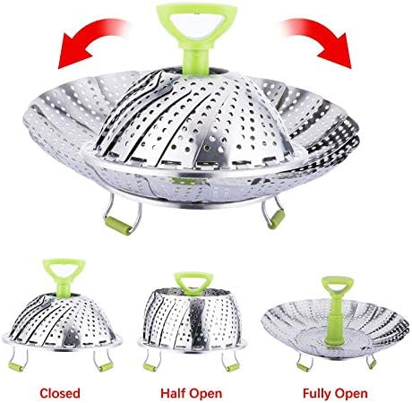 51eepRrZ2AL. AC Steamer Basket, Kmeivol Vegetable Steamer Basket, Stainless Steel Vegetable Steamer, Steamer Pot with Extendable Handle for Steaming Food, 5-9 Inch Expandable Veggie Steamer to Fit Various Size Pot    Kmeivol Steamer basket: Steamer basket is made of high quality food grade material, it can steam variety of foods. Vegetable steamer basket is Ideal for steaming food without losing nutrient. Vegetable steamer collapseable design can expands and adjusts to various pots. Steamer pot not only can be used to steam food, but also can be used as a strainer or fruit container. Veggie steamer is a great cooking choice, makes us enjoy easier cooking at home.