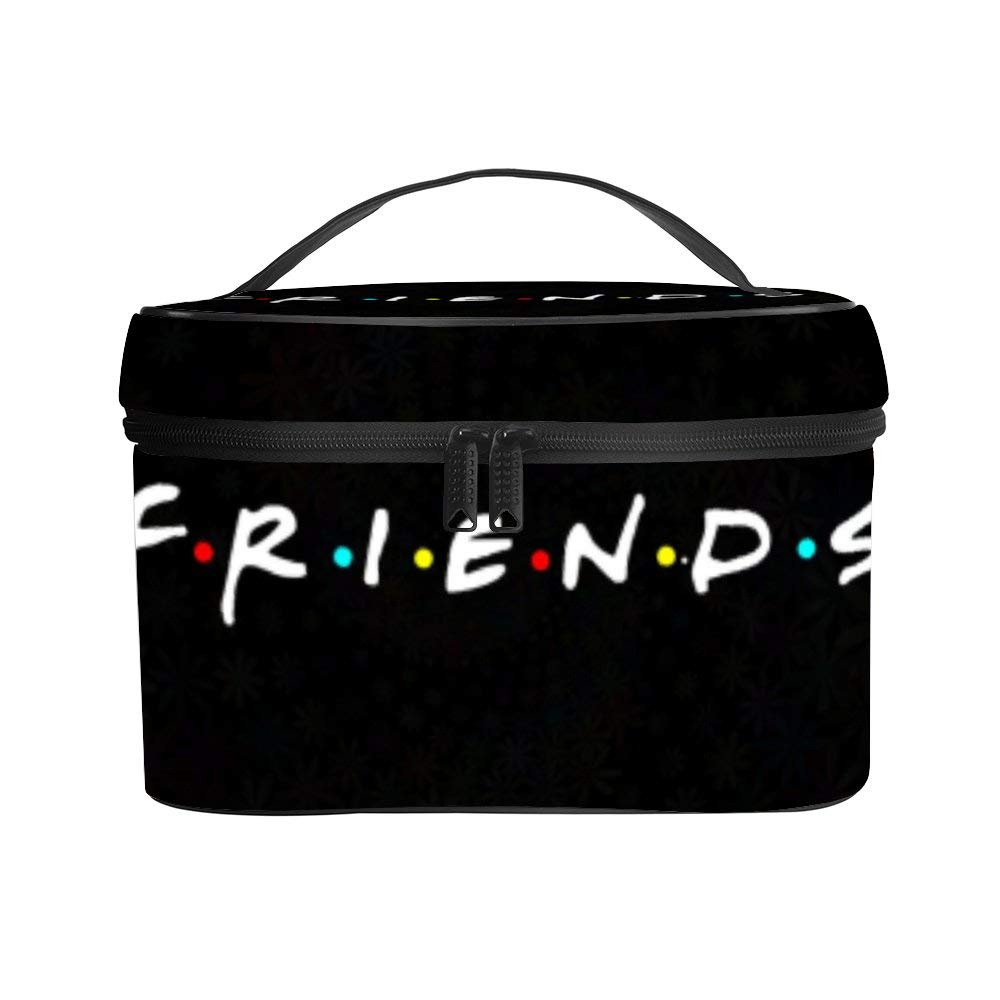 Beau Toby Friends Tv Show Flowers Women Portable Travel Cosmetic Bag Makeup Bag Litchi PU Leather Handy Toiletry Washing Bag Receiving Bag