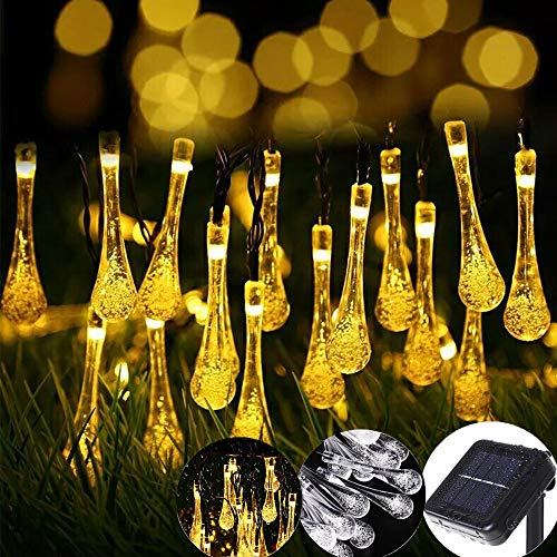 Raindrop Solar String Lights Christma s Lights 30LED Outdoor Decorative Lights 21Foot Waterproof  Fairy Lighting for Indoor Garden Xmas Tree Party Weddings Patio(Warm White)