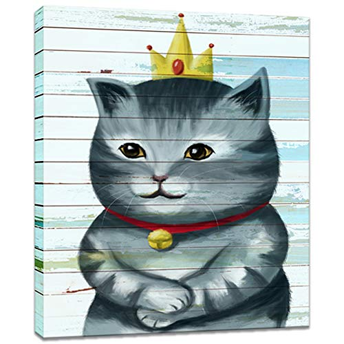 Innopics Cat with Crown Wall Art Canvas Prints Funny Animal Pictures Paintings Smile Cat Princess Artwork Stretched and Framed for Living Room Bedroom Home Decoration