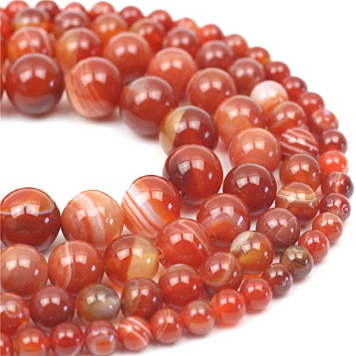 """Oameusa Natural Round Smooth 12mm Striped Agate Beads Gemstone Loose Beads Agate Beads for Jewelry Making 15"""" 1 Strand per Bag-Wholesale"""
