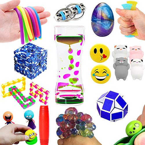 The Ultimate 14 Varieties 21 Packs Fidget Toys Sensory Kit For Kids Mochi Squishies Toys/Infinity Cube/Emoji Stress/Squeeze Bean/Fidget Stick/Twisted Toy/Fidget Cube Adult Add Adhd Stress Relax Prime (Add Toy)