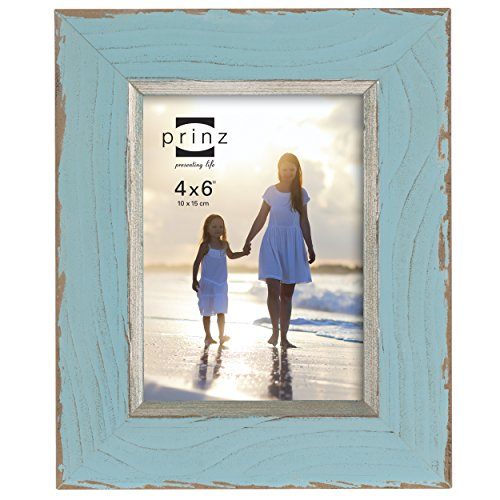 Prince Frame Blue (PRINZ Clearwater Distressed Wood Frame with Gilded Border, 4 by 6-Inch, Blue)