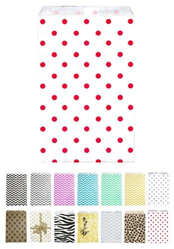 Novel Box Red Polka Dot Print Paper Gift Candy Jewelry Merchandise Bag Bundle 4X6
