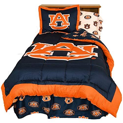 University Tigers Bedding - 3 Pc NCAA University of Auburn Tigers Navy Comforter Vibrant Box Stitched Design Team Logo Printed Basket Ball Bedding Sets Full Trendy Sports Patterned Look Soft Lightweight Reversible Bedding