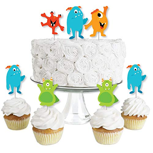 Monster Bash - Dessert Cupcake Toppers - Little Monster Birthday Party or Baby Shower Clear Treat Picks - Set of 24 -