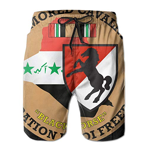11th Armored Cavalry Regiment 3D Print Men's Beach Shorts Swim Trunks Workout Shorts Summer Shorts White ()
