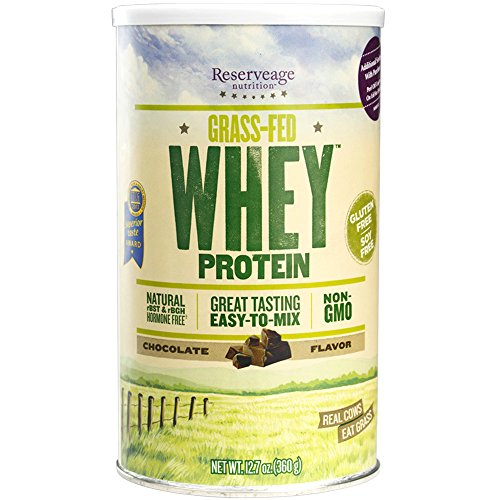 Reserveage - Grass Fed Whey Protein, Creamy, Delicious, Minimally Processed Whey from Pasture Fed Cows to Support Healthy Weight Management and Fitness, Non-GMO, Chocolate, 12 Servings (12.7 oz) by Reserveage Nutrition