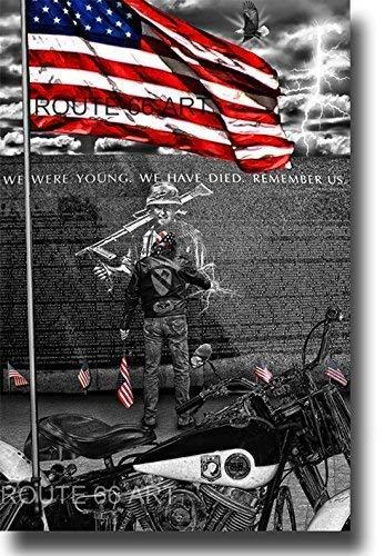 HARLEY DAVIDSON PANHEAD MOTORCYCLE VIETNAM VETERANS MEMORIAL WALL BIKER ART PRINT