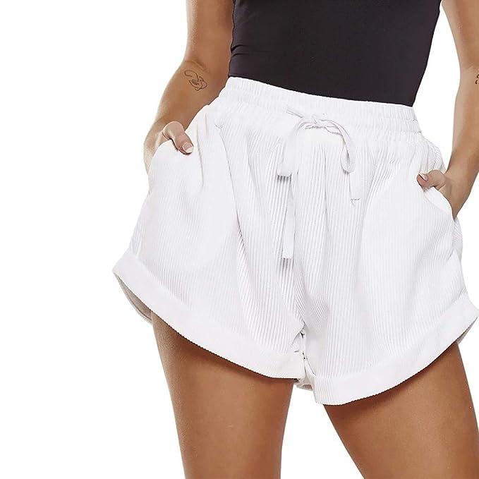Damen Frauen Hohe Taille Weites Bein Baggy Freizeit Kure Hose Shorts Hot Pants