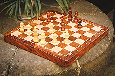 """StarZebra - SALE - TRAVEL SIZE - Magnetic 12"""" X 12"""" Inch Premium Wooden Chess Set Game with EXTRA QUEENS (Numbers and Letters on Side) - Standard Staunton Themed Chess Set - Perfect Gift Ideas"""