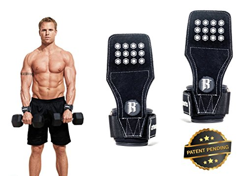RIMSports Weight Lifting Grip Hooks with Wrist Protector for Deadlifting & Bodybuilding - Gym Exercise Hand Gloves with Palm Pads That Molds in Shape for Extra Security (Black with Gray Dots)